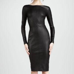 Robert Rodriguez Black Leather Long Sleeve Dress 2